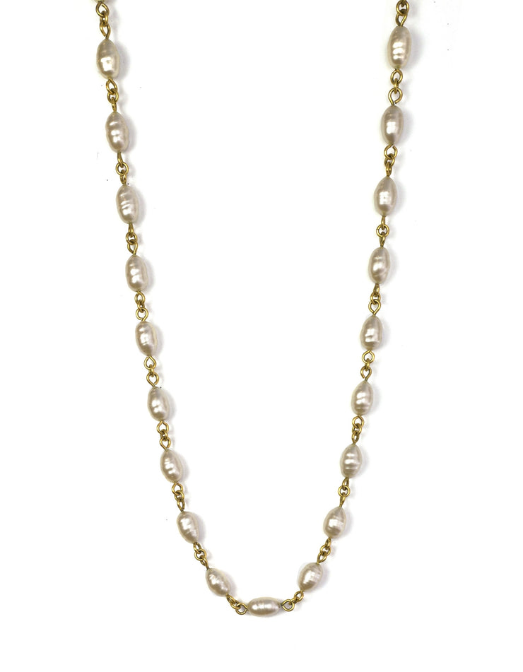 Chanel Ivory Faux Pearl & Goldtone Necklace