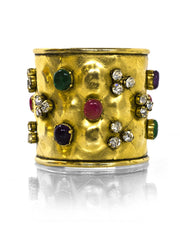 Chanel Vintage Quilted Goldtone Cuff with Multi-Color Gripoix Stones