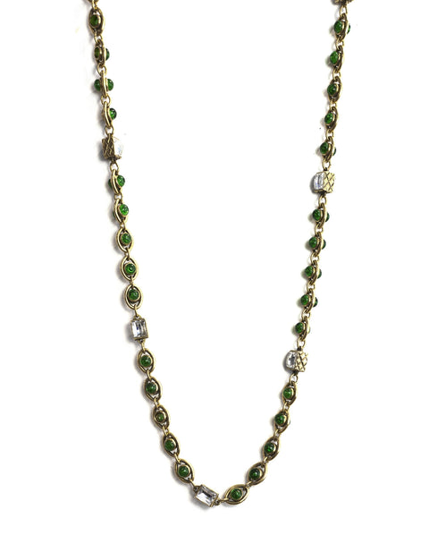 Chanel Vintage Green Gripoix & Crystal Goldtone Chain Necklace