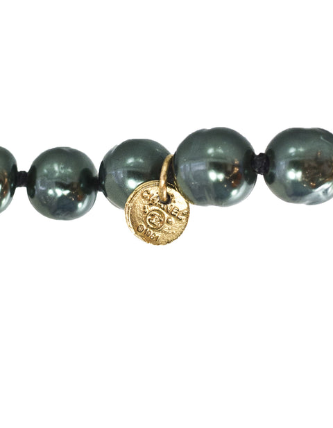 Chanel Vintage Dark Grey Pearl Necklace
