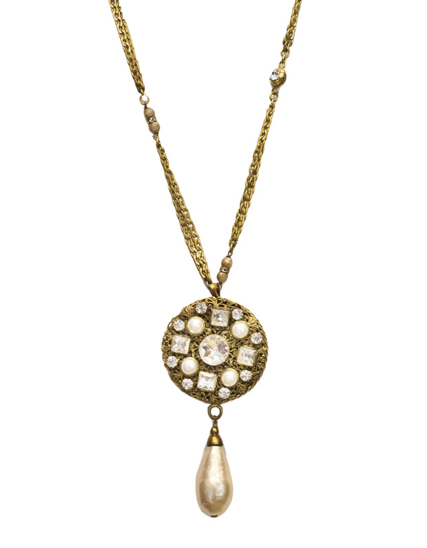 Chanel Vintage '84 Crystal & Faux Pearl Medallion Necklace