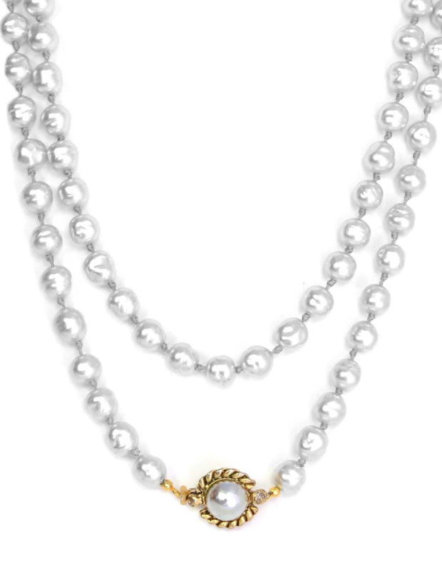 "Chanel Vintage 1981 Grey Pearl 48"" Long Strand Necklace"