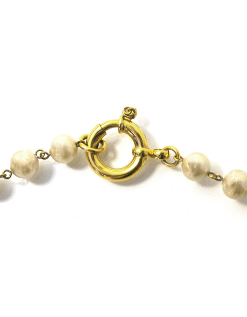 "Chanel 80"" Faux Pearl and CC Nugget Necklace"