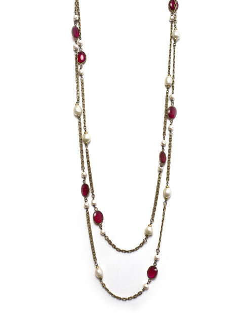 Chanel Vintage Red Gripoix & Faux Pearl Chain Necklace