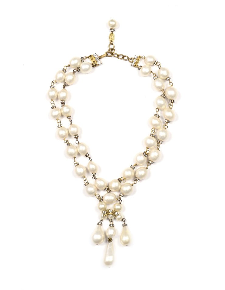 Chanel Vintage 90's Double Strand Pearl & Rondell Choker