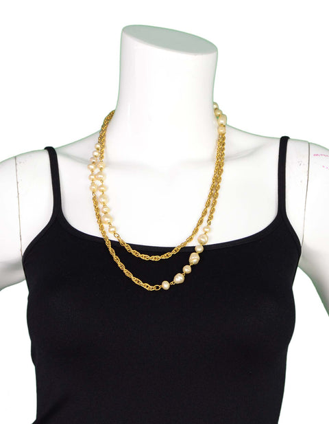 Chanel Vintage Goldtone and Faux Pearl Necklace