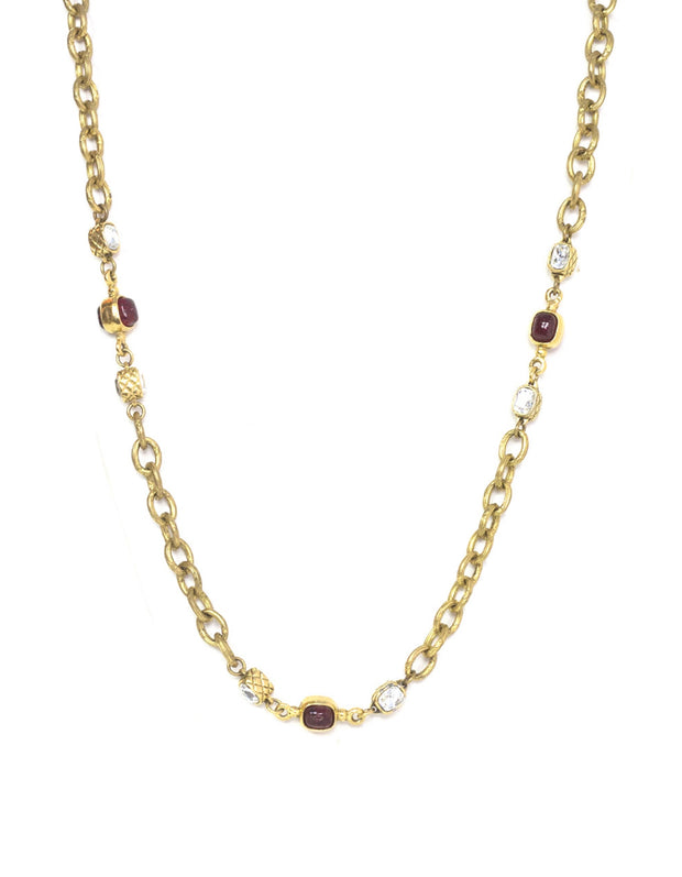 Chanel Vintage Gold Chain Link & Red Gripoix Necklace