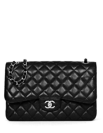 Chanel Black Caviar Leather Quilted Classic Double Flap Jumbo Bag