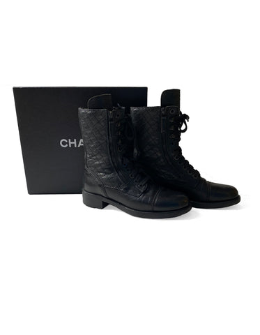 Chanel Black Leather CC Combat Boots sz 38