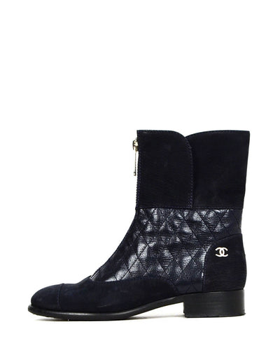 Chanel Navy Calfskin Leather Quilted Zip Front Boots sz 37