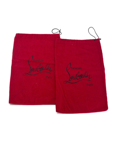 Christian Louboutin Red Canvas Set of Two Travel Shoe Dust Bags