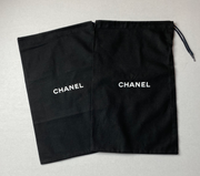 "100% Auth Chanel Set of Two Black Shoe/ Small Bag/ Wallet Dust Bags 13""x 8.25"""
