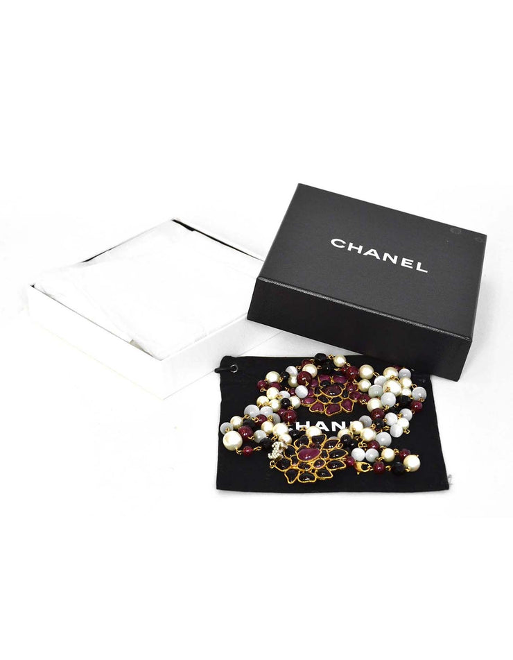 Chanel Long Beaded Necklace w. Gripoix Pendants