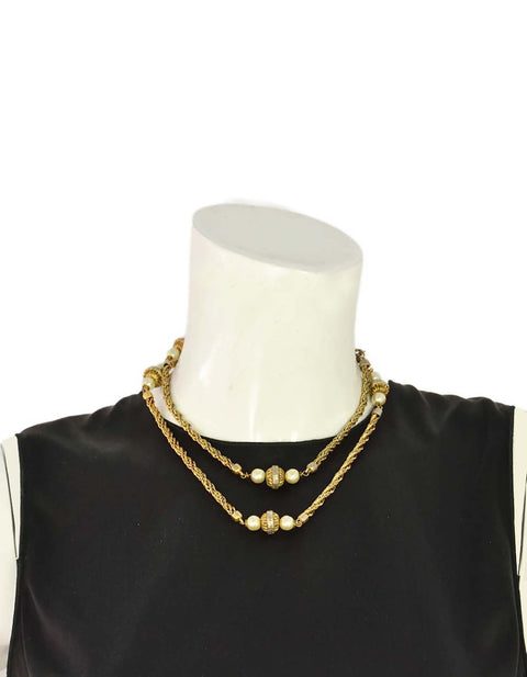 Chanel Pearl & Gold Beaded Long Chain Link Necklace