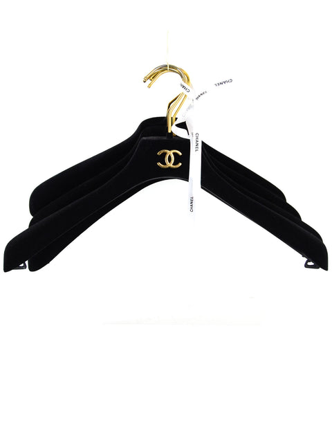 Chanel Black Velvet CC Coat Hangers- Set of 4
