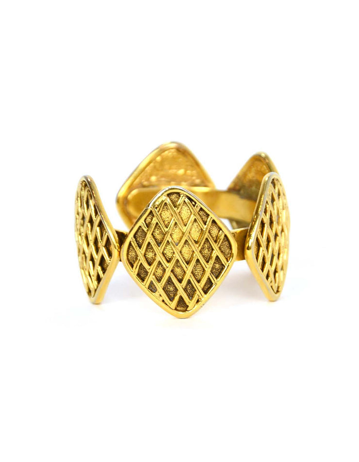 Chanel Vintage '90s Gold Quilted Medallion Cuff Bracelet
