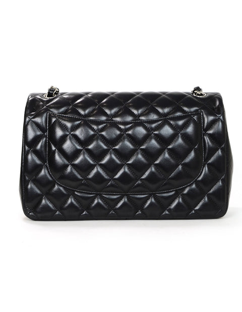 Chanel Black Lambskin Quilted Double Flap Jumbo Bag SHW