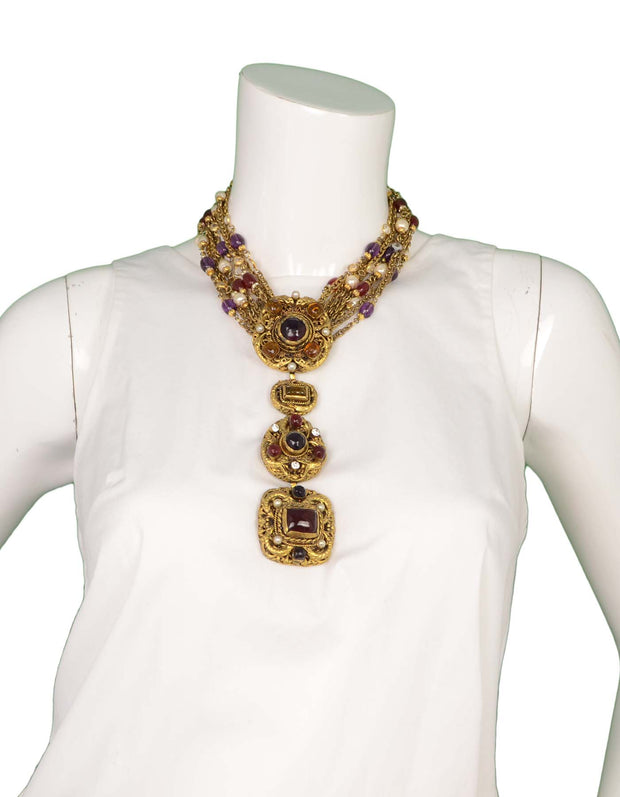 Chanel Vintage '84 Gold Multi-Strand Gripoix & Pearl Long Necklace