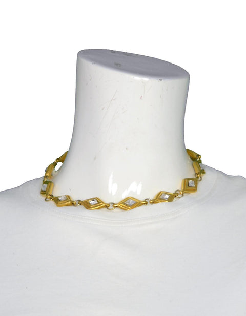 Chanel Vintage '70's Gold & Crystal Choker Necklace