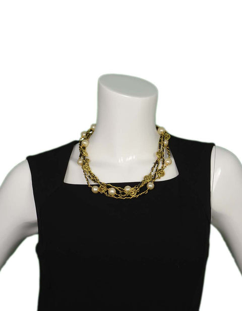 "Chanel Vintage '94 Leather Woven Chain Link 82"" Necklace"