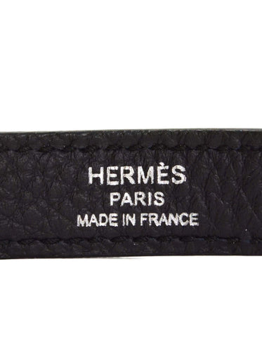 Hermes Indigo Blue Leather Bag Strap PHW