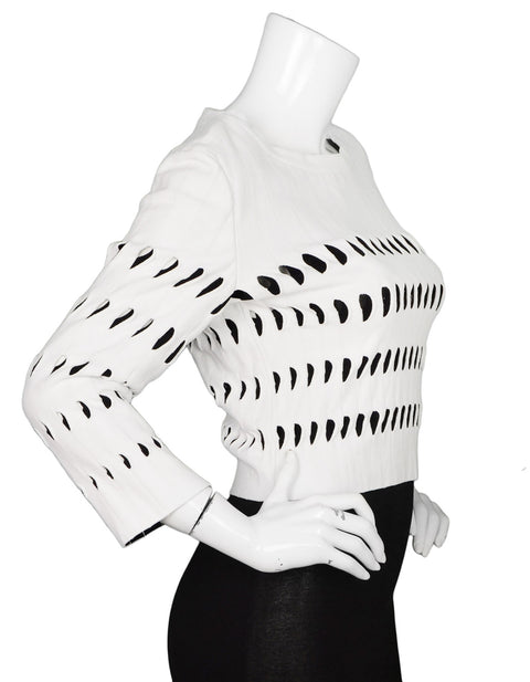 Alaia White & Black Cut-Out Cropped Top sz FR44