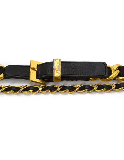 Chanel Vintage 93 Leather Woven Chain Link Belt sz 75
