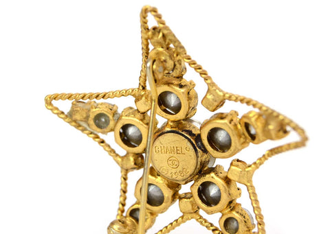 Chanel Vintage Crystal Star Brooch