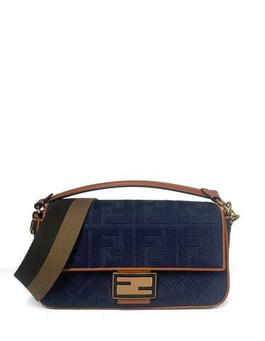 Fendi Blue Denim Embossed Monogram Baguette Bag w. Strap