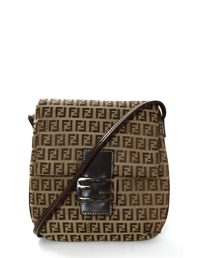 Fendi Brown Monogram Zucchino Flat Messenger Bag