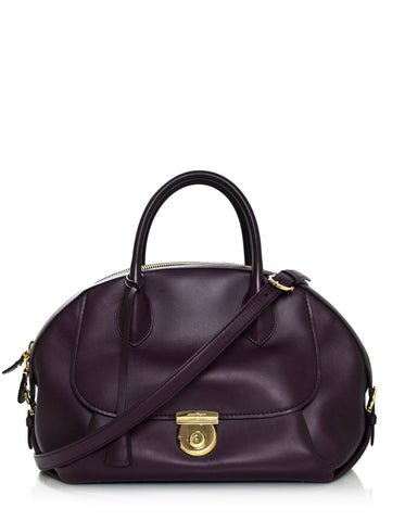 Salvatore Ferragamo Plum Leather Medium Fiamma Bowler Bag