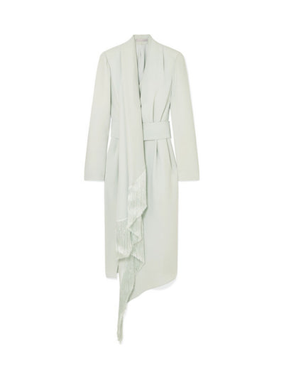Ralph & Russo NWT Mint Fringed Silk-Crepe Midi Dress IT46/US 10 rt. $6,470