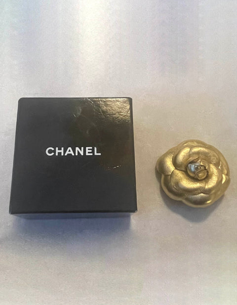 Chanel Gold Leather Camellia Brooch