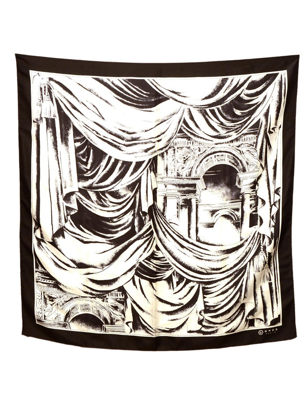 Gres Cream/Black Arch Print Silk Scarf