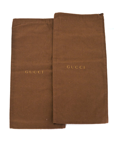 Gucci Brown Canvas Set of Two Travel Shoe Dust Bags