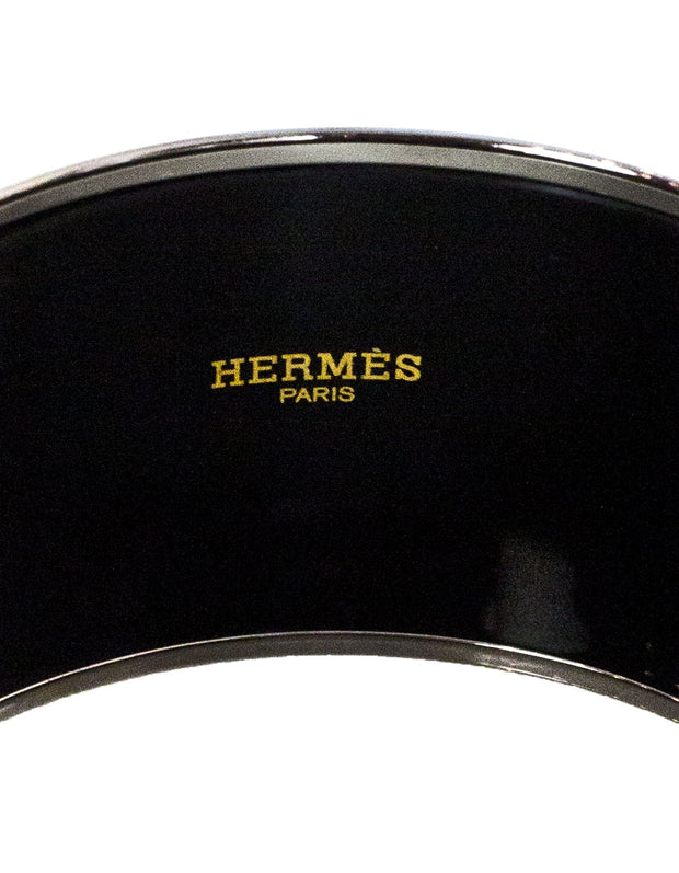 Hermes Brown & Green Geometric Extra Wide Enamel Bangle Sz 65