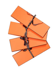 Hermes Orange Four Tie/Scarf Boxes W/ Ribbons 15x5