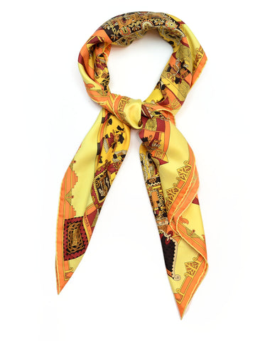 Hermes Yellow Astres Et Soleils 90cm Silk Scarf