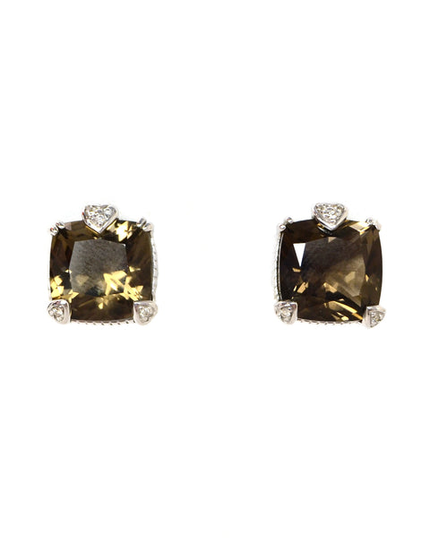 Judith Ripka Sterling/Diamond Smoky Quartz Stud Earrings
