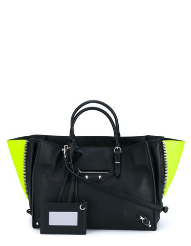 Balenciaga Black Leather Mini Papier A4 Crossbody Tote Bag w/ Neon