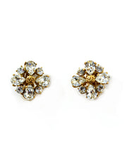 Chanel '02 Gold/Crystal Clip-On Earrings w. CC