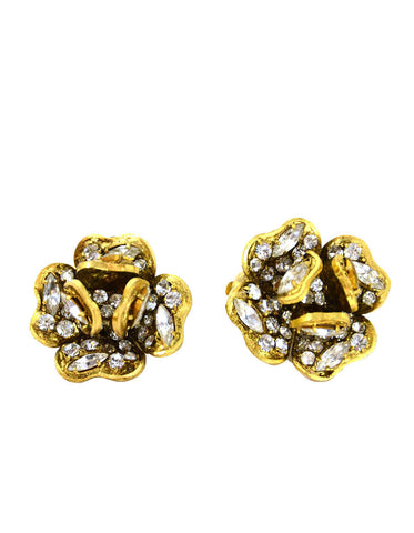 Chanel Vintage Strass Crystal Camellia Clip-on Earrings