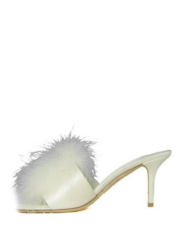 Louis Vuitton 2018 White Marabou Feather LV Marilyn Mules sz 39