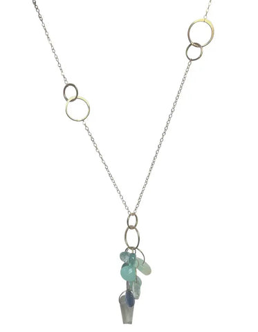 Melissa Joy Manning 14K Yellow Gold Chainlink Lariat w/ Stone Drop