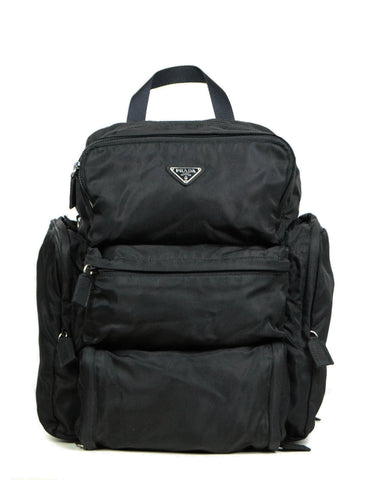 Prada Black Nylon Multipocket Backpack Bag