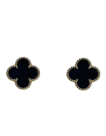Van Cleef & Arples 18K Yellow Gold Black Onyx Vintage Alhambra Earrings