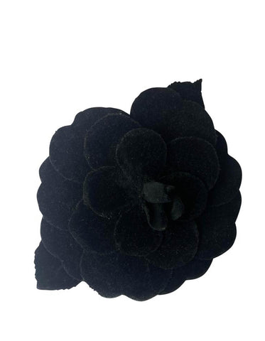 Chanel Black Velvet XL Camellia Brooch