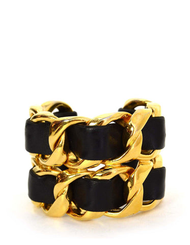 Chanel Vintage Black/Gold Wide Leather Laced Cuff Bracelet