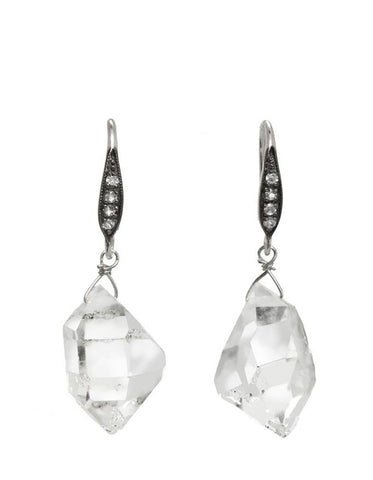 Margo Morrison Herkimer Diamond & White Sapphire Earrings