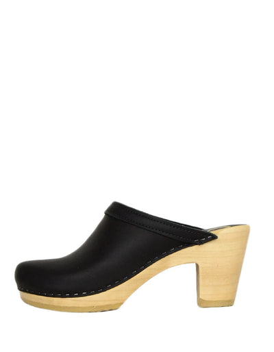 No.6 Black Leather Old School Clogs sz 38